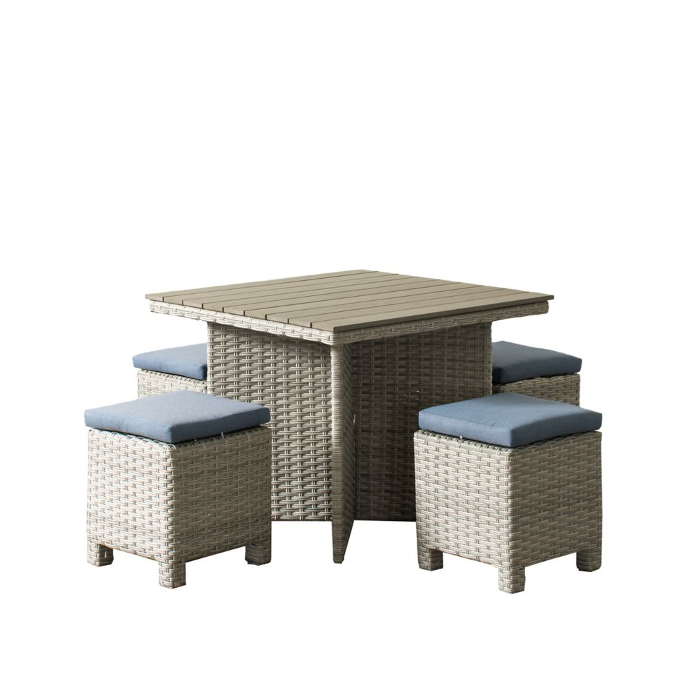 Corliving Brisbane Weather Resistant Resin Wicker 5-Piece Patio Dining Set with Blue Cushions
