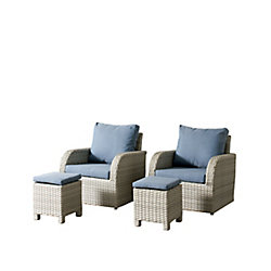 Corliving Brisbane Weather Resistant Resin Wicker 4-Piece Patio Set with Blue Cushions