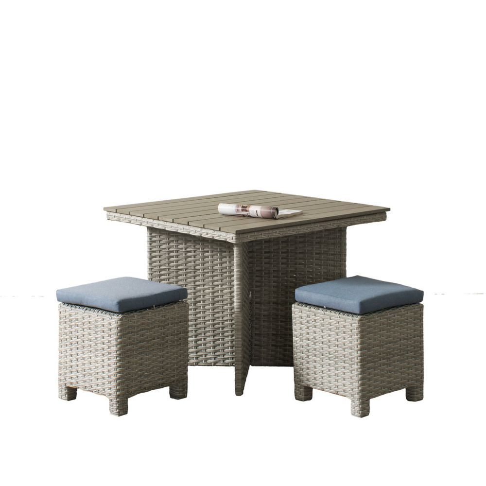 Corliving Brisbane Weather Resistant Resin Wicker 3-Piece Patio Dining Set with Blue Cushions