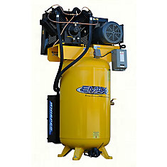 Industrial Silent Air 7.5 HP 1-Phase 2-Stage 80 gal.Vertical Stationary Electric Air Compressor
