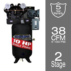 EMAX Industrial  10 HP 1-Phase 80 gal. Vertical  Industrial Electric Air Compressor