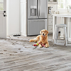 Lifeproof Shadow Wood 6-inch x 24-inch Glazed Porcelain Floor and Wall Tile