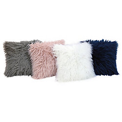 Couture Mongolian Faux Fur Cushion 17-inch x 17-inch