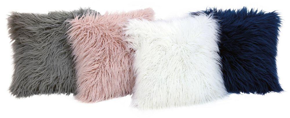 Couture Mongolian Faux Fur Cushion 17-inch x 17-inch