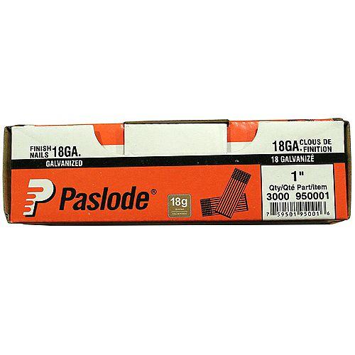 Paslode Finishing Nails - Strip - 18Ga - 1 Inch - 3000/Box