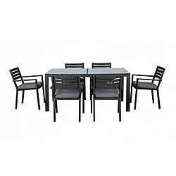 THD Curren 7-Piece Aluminum Dining Collection