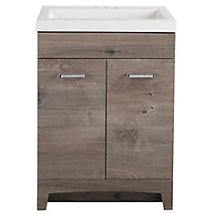Stancliff 24.5-inch W Vanity in White Washed Oak with Cultured Marble Vanity Top in White and Mirror