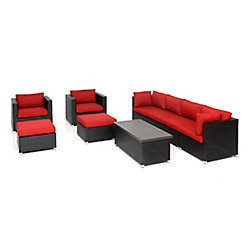 SUNSET PATIO Innesbrook Collection 9.2 Patio Conversation Set with Red Cushions