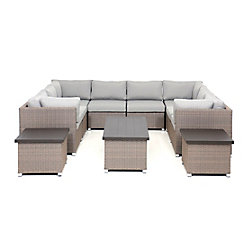 SUNSET PATIO Chambers Bay Collection 11.1 Patio Conversation Set with Grey Cushions
