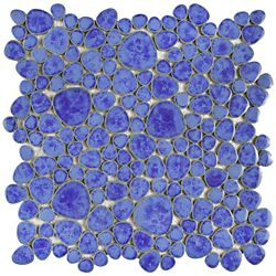 Merola Tile Carreau de mosaïque en porcelaine Pebble Blue Cloud 11 po x 11 po (8,6 pi2/boîte)
