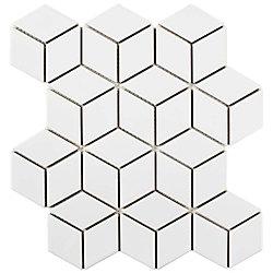 Carreau de mosaïque en porcelaine Metro Rhombus blanc lustré 10 1/2 po x 12 1/8 po (9,04 pi2/boîte)