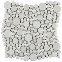 Merola Tile Cosmo Bubble White 11-1/4-inch x 12-inch x 8 mm Porcelain Mosaic Tile (9.58 sq.ft. / case)