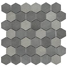 Mosaïque en pierre de lave naturelle Structure Due Hex noir 11 3/4 po x 12 po (10 pi2/boîte)