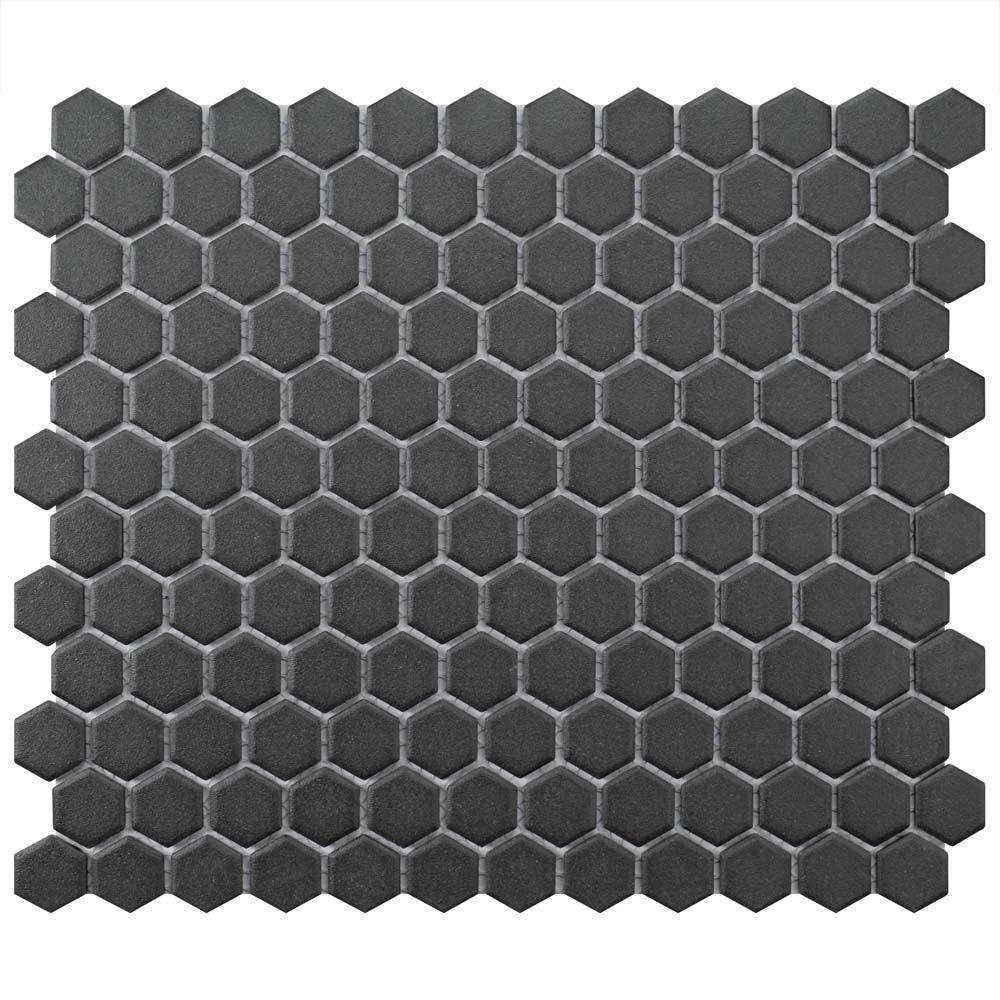 Merola Tile Gotham Hex Black 10 1/4-inch x 12-inch x 5mm Porcelain Mosaic Tile (8.54 sq. ft. / case)