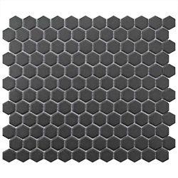 Merola Tile Carreau de mosaïque en porcelaine Gotham Hex noir 10 1/4 po x 11 3/4 po (8,56 pi2/boîte)