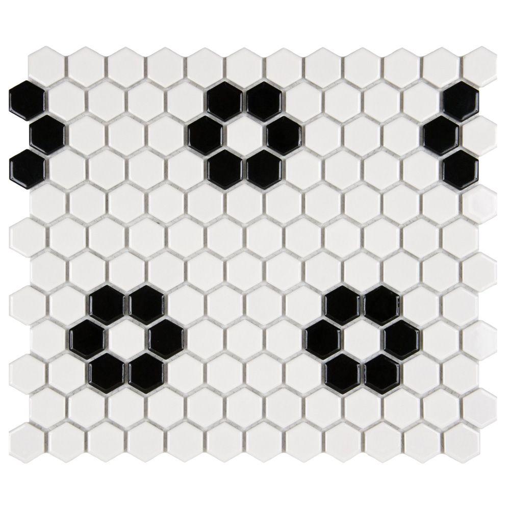 Merola Tile Metro Hex Glossy White w Heavy Flower 10-1/4-inch x 11-3/4-inch x 5mm Porcelain Mosaic (8.54sf/ca)