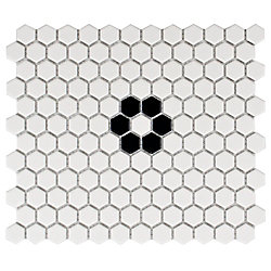Merola Tile Metro Hex Matte White w Single Flower 10-1/4-inch x 11-3/4-inch x 5mm Porcelain Mosaic (8.56 sf/ca)