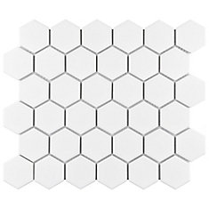 Metro 2-inch Hex Matte White 10-1/2-inch x 11-inch x 6 mm Porcelain Mosaic Tile (8.02 sq.ft. / case)
