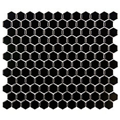 Metro Hex Glossy Black 10-1/4-inch x 11-3/4-inch x 5 mm Porcelain Mosaic Tile (8.56 sq. ft. / case)