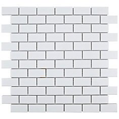 Metro Subway Matte White 11 3 4 Inch X 5mm Porcelain Mosaic Tile 9 6 Sq Ft Case