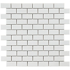 Metro Subway Glossy White 11 3/4-inch x 11 3/4-inch x 5mm Porcelain Mosaic Tile (9.6 sq. ft. / case)