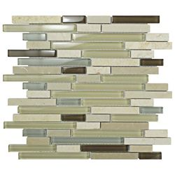 Merola Tile Tessera Piano York 11-5/8-inch x 11-3/4-inch x 8 mm Glass and Stone Mosaic Tile (4.84 sq.ft. / case)