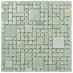 Merola Tile Tessera Versailles Ming 11-3/4-inch x 11-3/4-inch x 8 mm Glass and Stone Mosaic Tile(9.79 sq. ft./case)