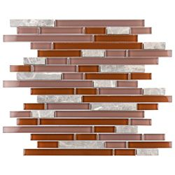 Merola Tile Tessera Piano Bordeaux 11-3/4-inch x 11-7/8-inch x 8 mm Glass and Stone Mosaic Tile(9.9 sq.ft./case)