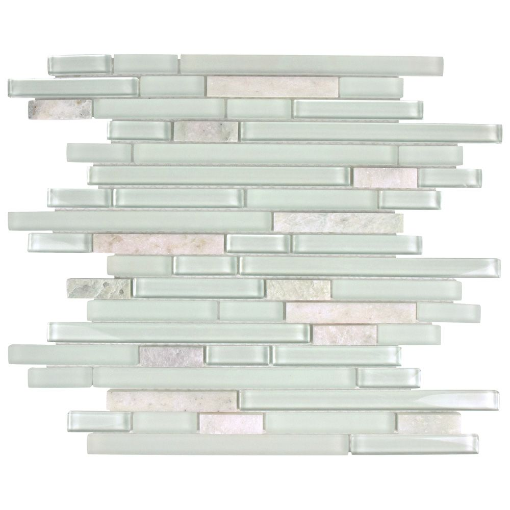 Merola Tile Tessera Piano Ming 11-3/4-inch x 11-7/8-inch x 8 mm Glass and Stone Mosaic Tile (9.9 sq.ft. / case)