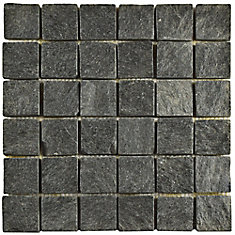 Crag Quad Black Quartzite 12-inch x 12-inch x 13 mm Natural Stone Mosaic Tile (5.1 sq.ft. / case)