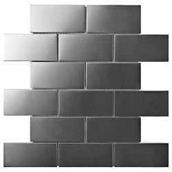 Merola Tile Meta Super Subway 10-inch x 11-3/4-inch x 8 mm Stainless Steel Over Ceramic Mosaic Tile (8.35 sf/ca)