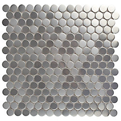 Merola Tile Meta Penny Round 11-3/4-inch x 11-3/4-inch x 8 mm Stainless Steel Over Ceramic Mosaic (9.79sf/ca)