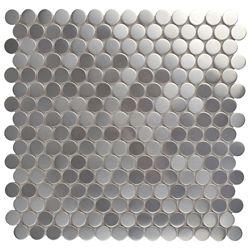 Merola Tile Mosaïque en acier inoxydable sur céramique Meta Penny Round 11 3/4 po x 11 3/4 po (9,79 pi2/boîte)