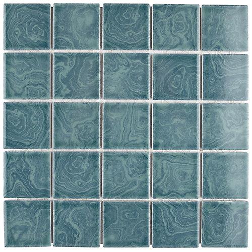 Carreau de mosaïque en porcelaine Resort Palm vert 12 po x 12 po (10,21 pi2/boîte)
