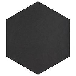Carreau en porcelaine pour sol/mur Hexatile Matte Nero 7 po x 8 po (7,67 pi2/boîte)