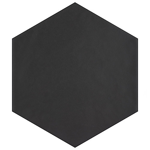 Hexatile Matte Nero 7-inch x 8-inch Porcelain Floor and Wall Tile (7.67 sq. ft. / case)