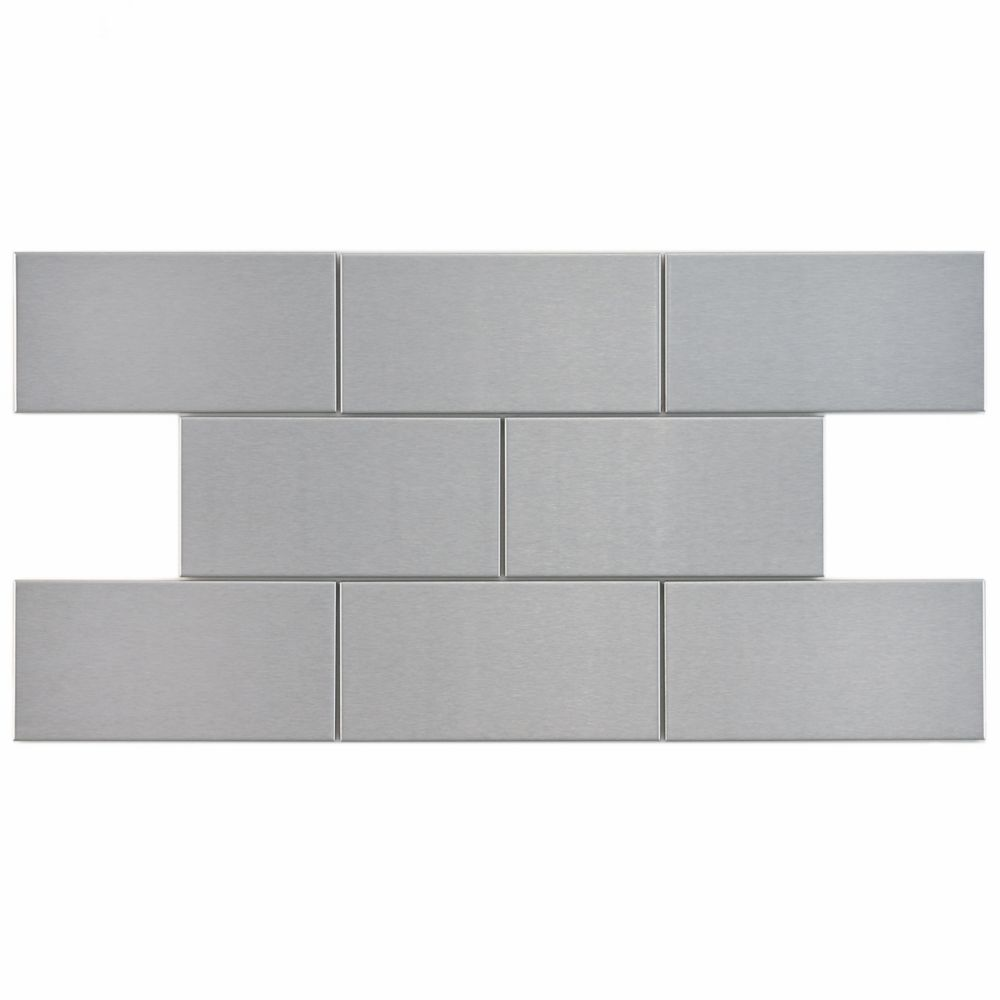 Merola Tile Alloy Subway 3-inch x 6-inch Stainless Steel Over Porcelain Wall Tile (8 sq. ft. / case)