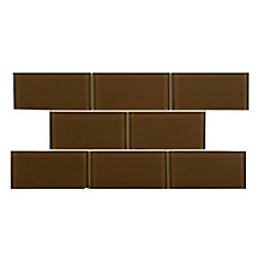Tessera Subway Earth 3-inch x 6-inch Glass Wall Tile (9.03 sq. ft. / case)