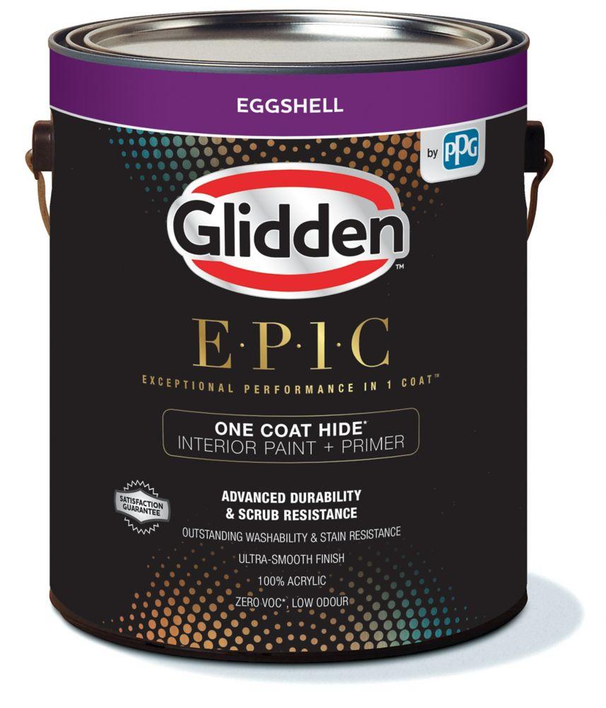 Glidden EPIC One Coat Hide Interior Paint + Primer Eggshell White 3.66 L