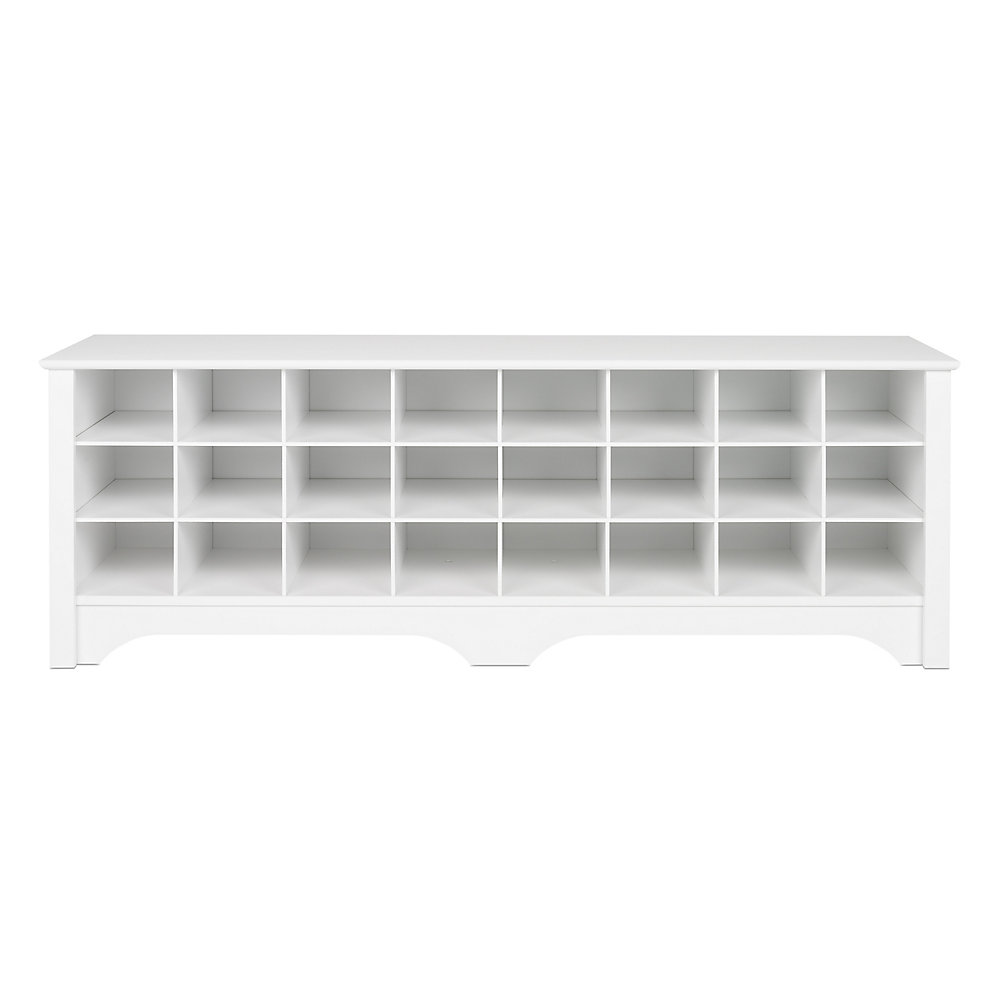 60-inch Shoe Cubby Bench - White