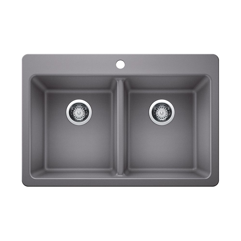GLACIER BAY Top-Mount Composite Granite 30-inch 5-Hole Double Bowl Kitchen Sink in Silver