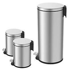 HDX 38L and 5L Stainless Steel Step Trash Can Set (3-Piece)