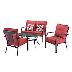 Salon de jardin avec sièges profonds Coopersmith, acier, rouge, 4 pièces