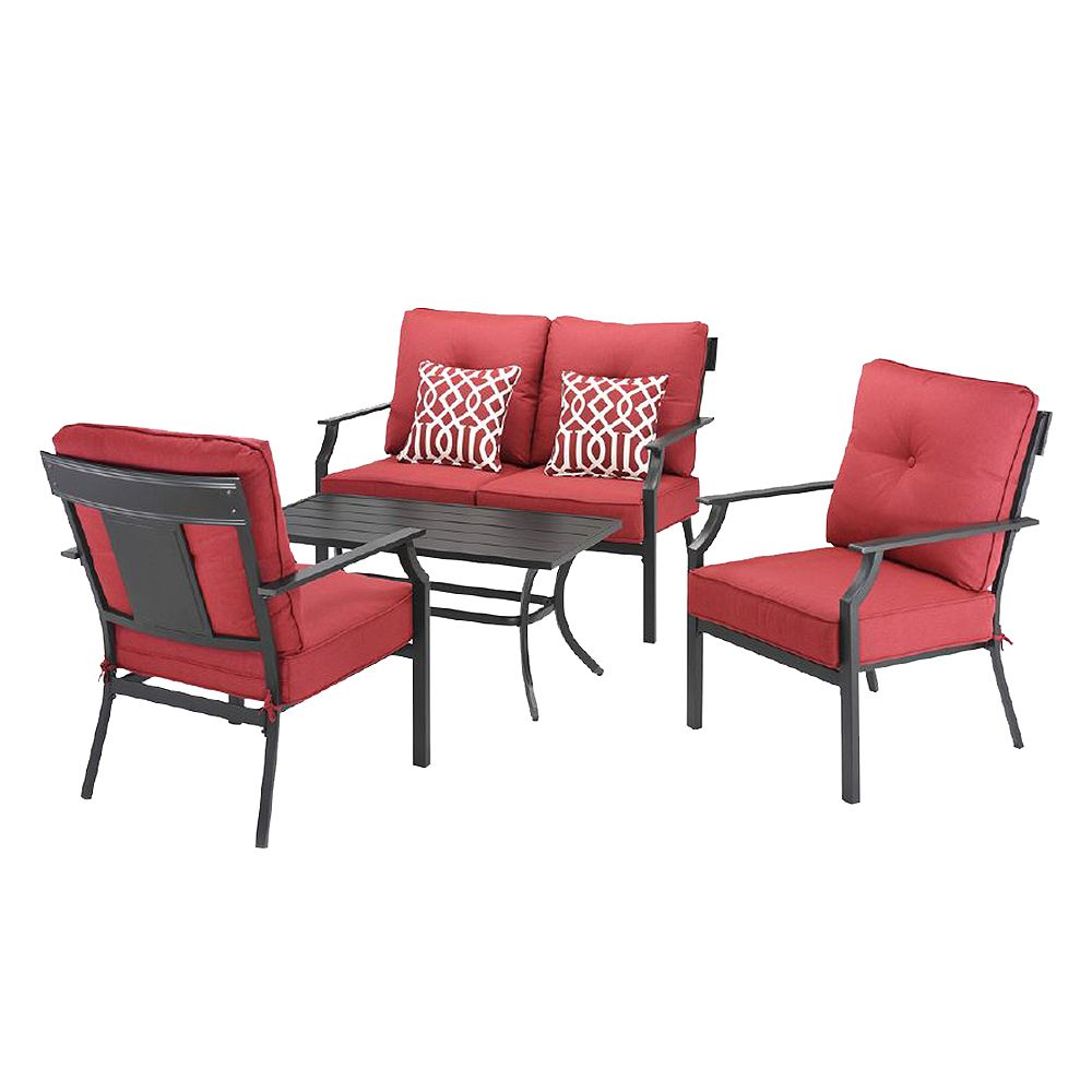 Hampton Bay Coopersmith Steel 4-Piece Patio Deep Seating Set in Red