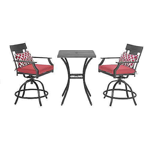 Coopersmith 3-Piece Steel High Patio Bistro Dining Set in Red