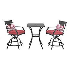 Coopersmith - Mobilier de salle à manger haut en acier de 3pièces avec chaise pivotante (rouge)