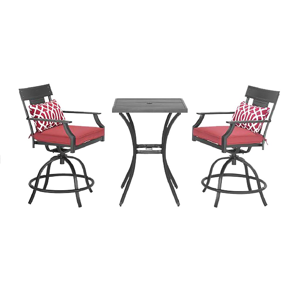 Hampton Bay Coopersmith 3-Piece Steel High Patio Bistro Dining Set in Red