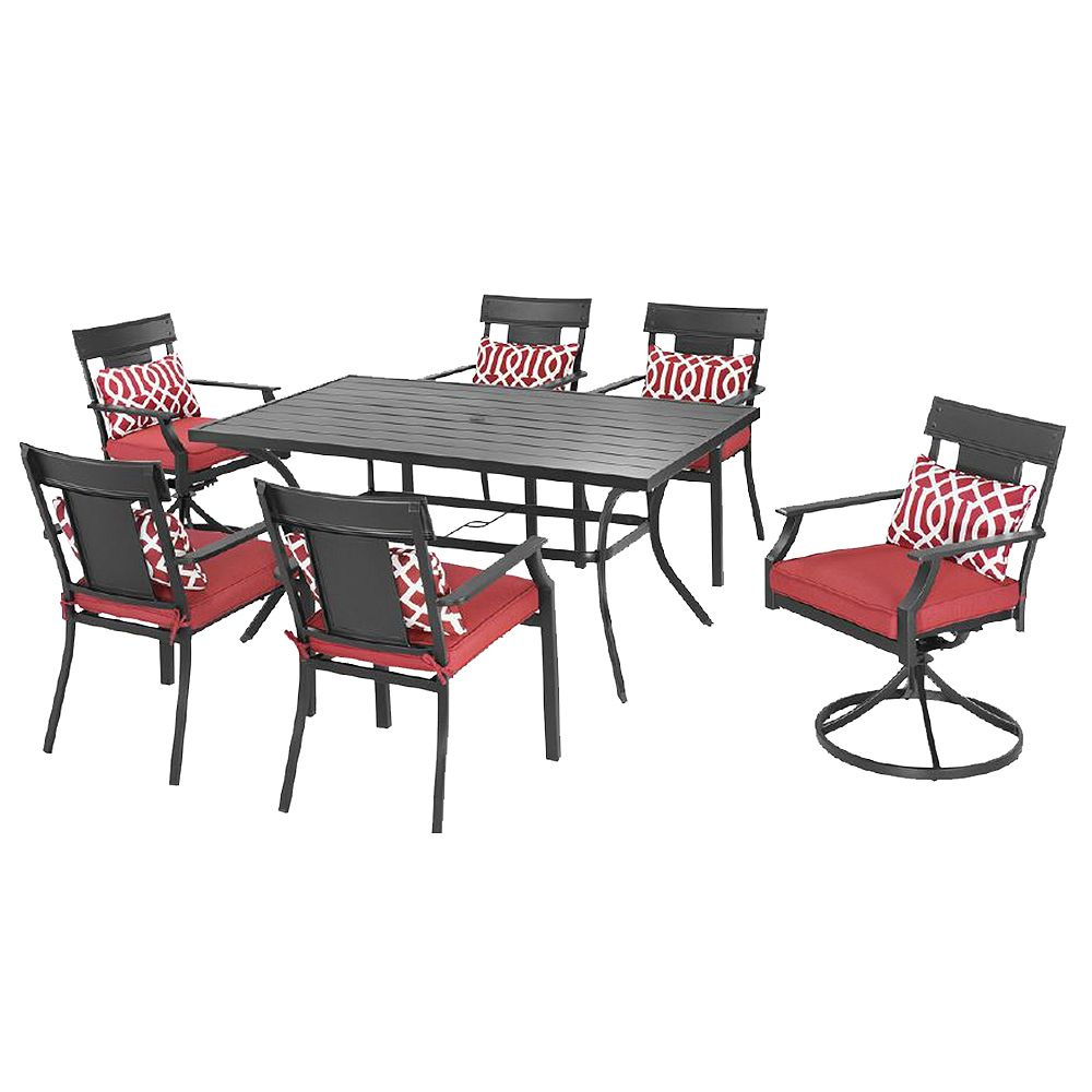 Hampton Bay Coopersmith Steel 7-Piece Patio Dining Set in Red