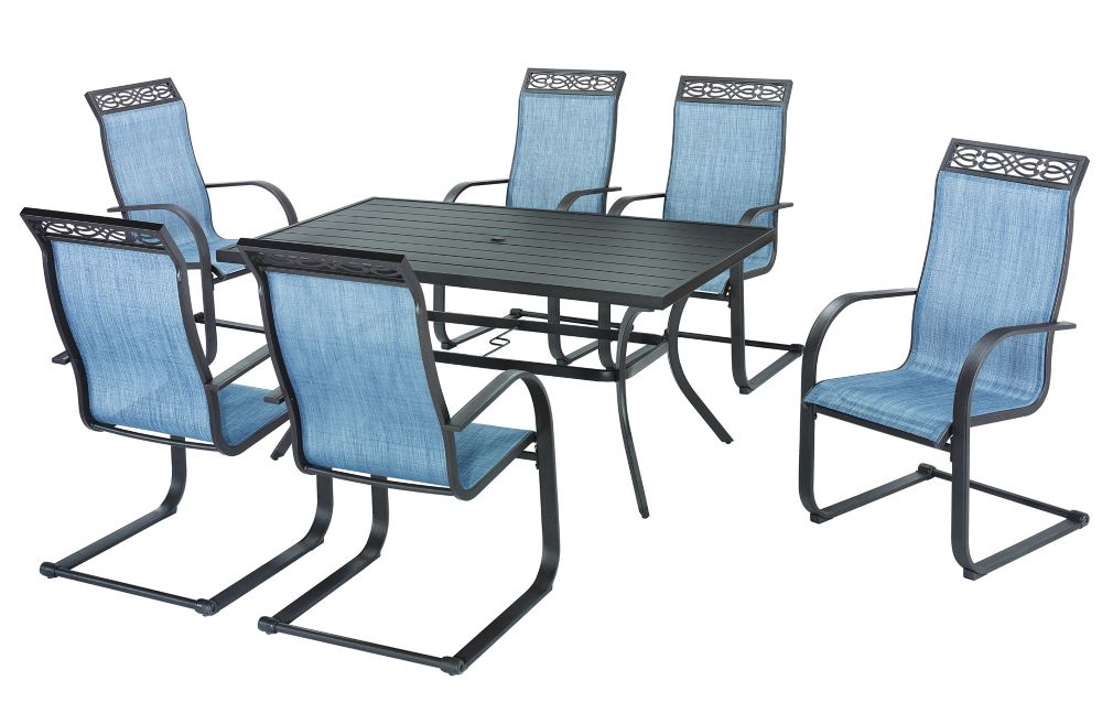 Hampton Bay Elm Court Steel 7 Piece Sling C-Spring Dining Set