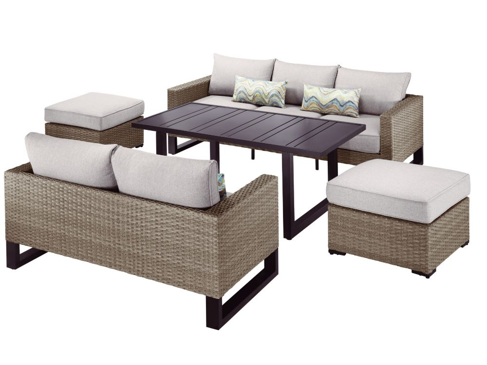 Park Heights 5 Piece Wicker Patio Deep Seating Set With Chow Height Table And Putty Cushions